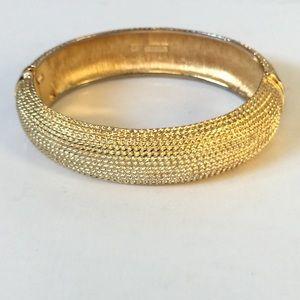 Monet Vintage Hinged Bangle Bracelet Gold Tone